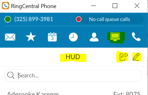 screen shot of the HUD in RingCentral