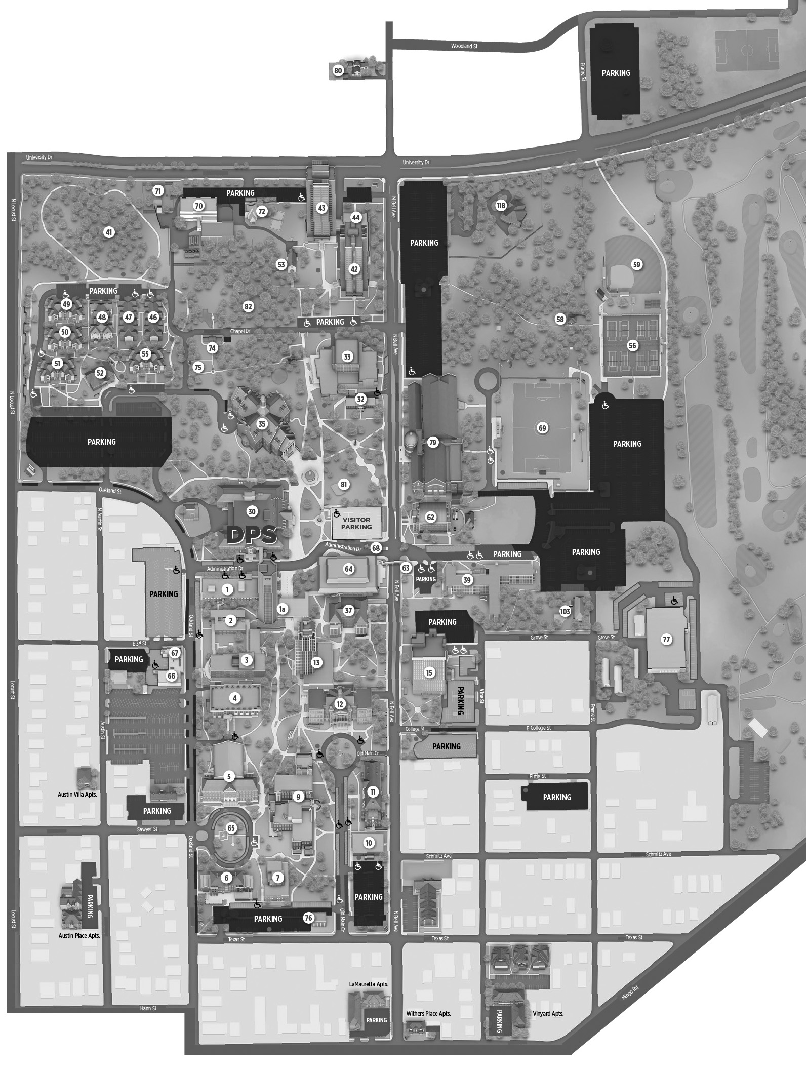 TWU Denton Campus Map