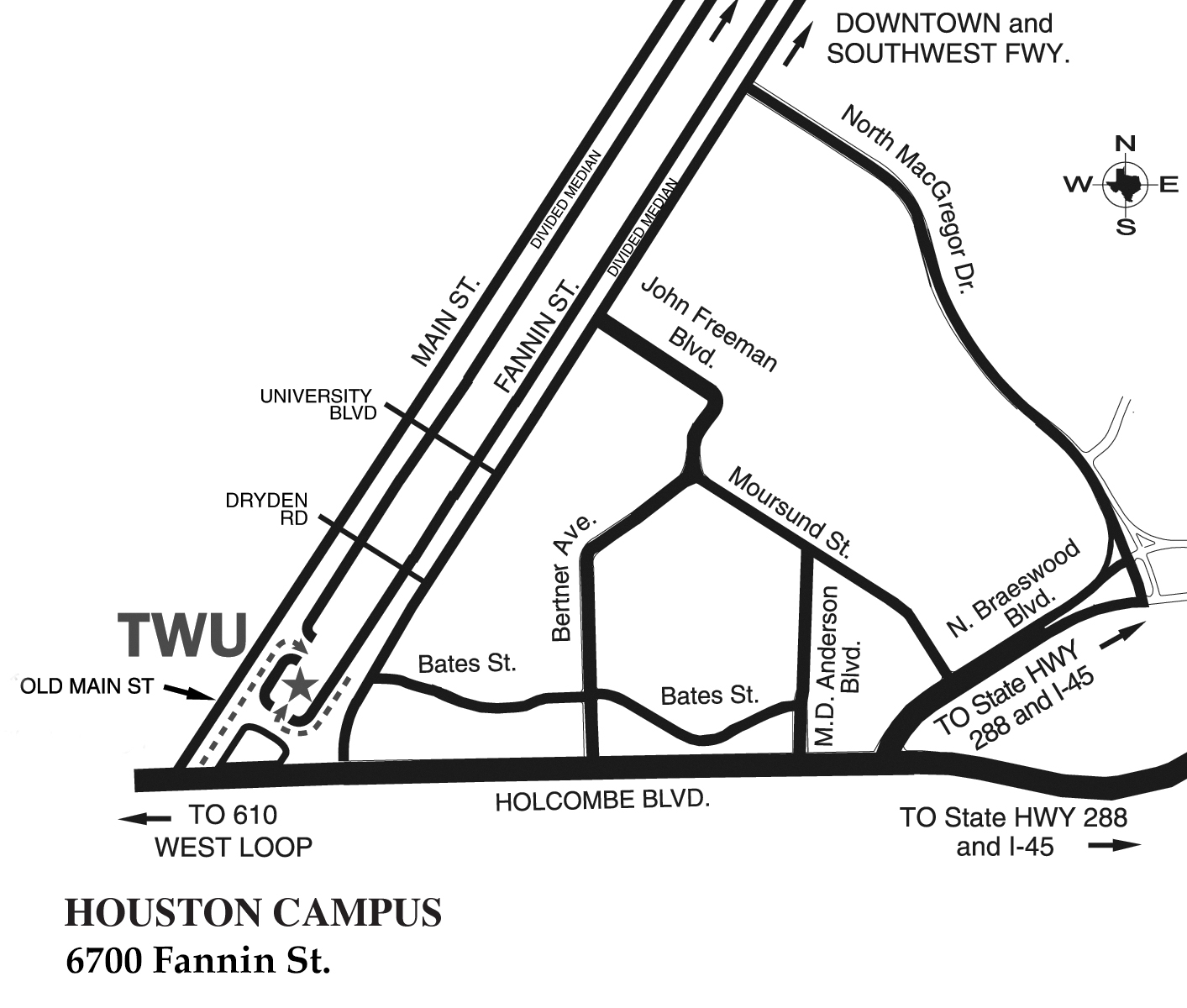 TWU Houston Campus Map